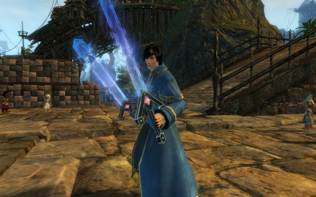 My new level 80 mesmer, Michallis--complete with dual Super Swords for maximum awesome.